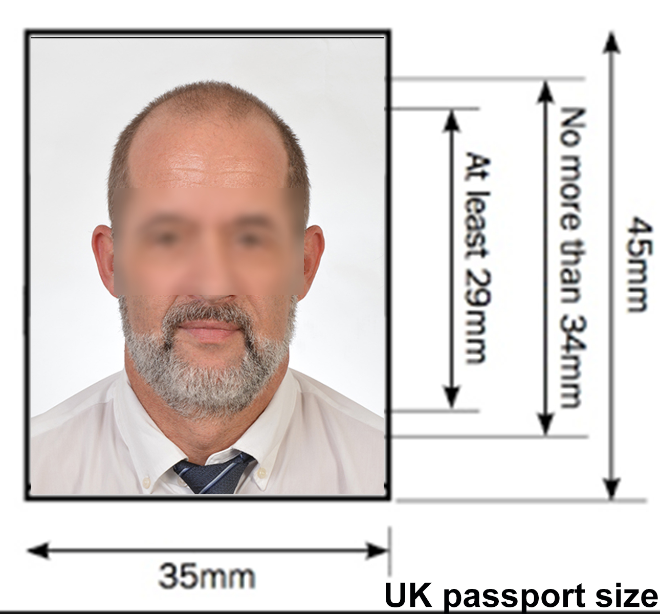Irish passport size photo dimensions